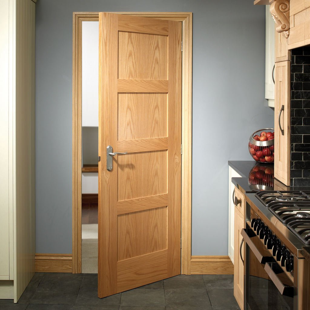 Shaker style four panel oak veneer interior door