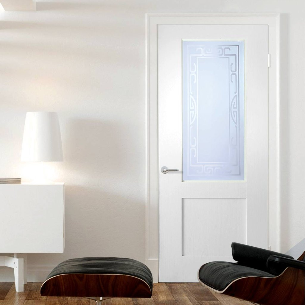 White PVC door on white background