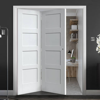Image: Thrufold Shaker 4 Panel 2+0 Folding Door - White Primed