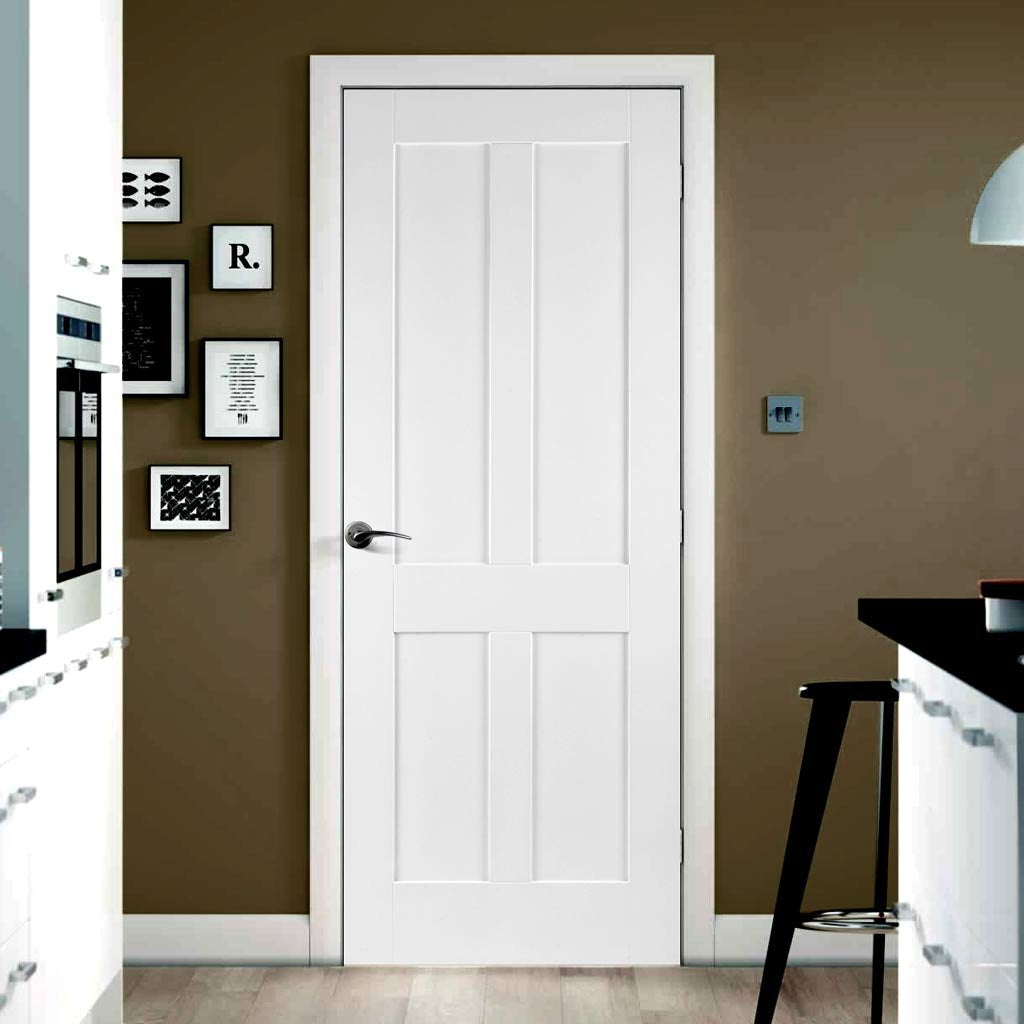 Door and Frame Kit - Victorian Shaker 4 Panel Door - White Primed