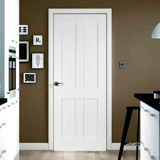 Image: Victorian Shaker 4 Panel Fire Door - 1/2 Hour Fire Rated - White Primed