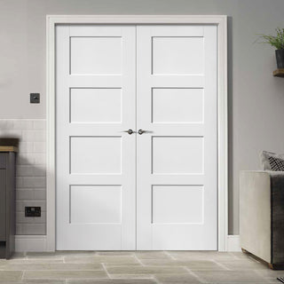 Image: Shaker 4P Door Pair - White Primed