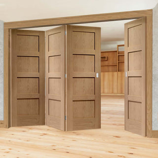 Image: Four Folding Doors & Frame Kit - Shaker Oak 4 Panel Solid 3+1 - Unfinished