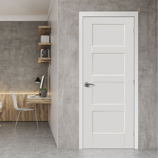 Image: Bespoke Shaker 4 Panel Fire Door - 1/2 Hour Fire Rated and White Primed