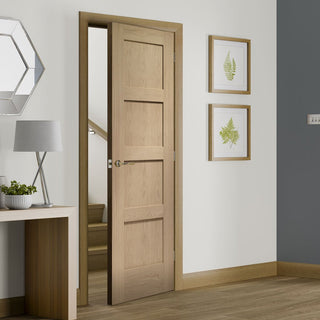 Image: Bespoke Shaker 4P Oak Fire Door - 1/2 Hour Fire Rated