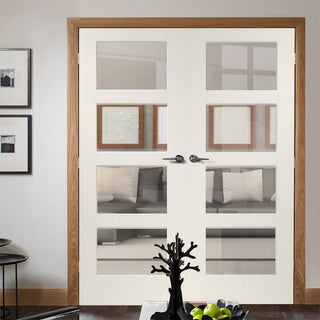 Image: Prefinished Shaker 4 Pane Door Pair - Clear Glass - Choose Your Colour