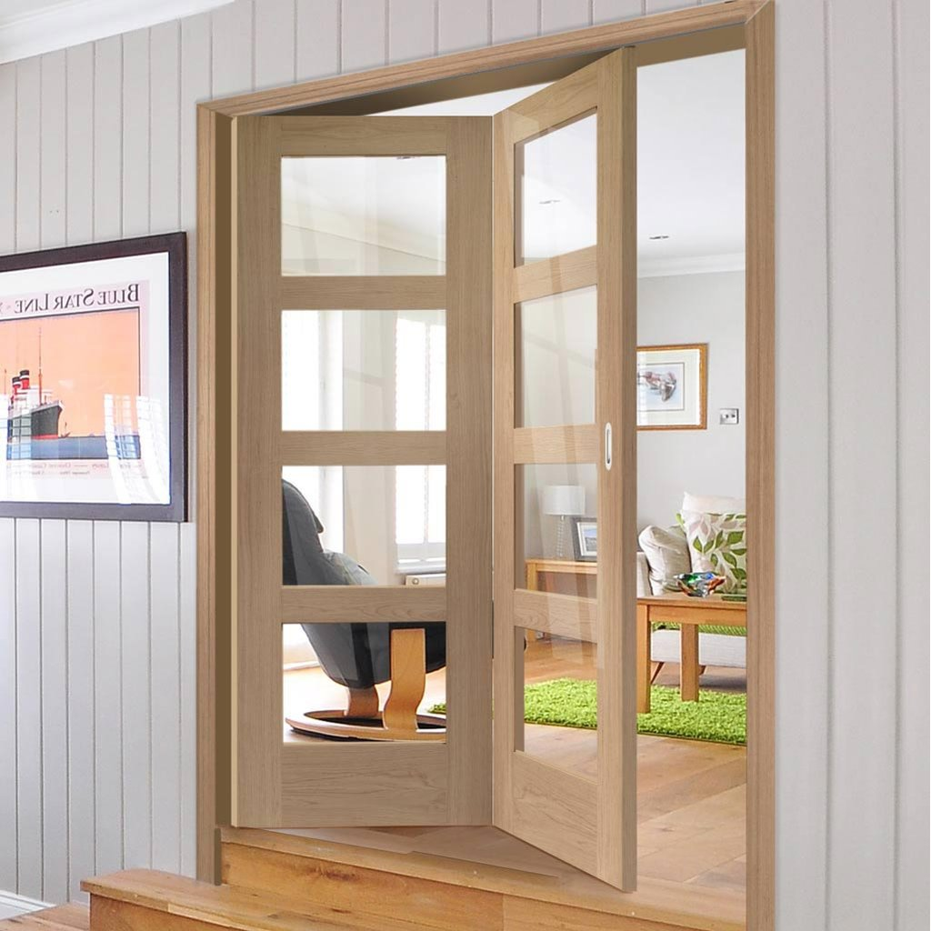Two Folding Doors & Frame Kit - Shaker Oak 4 Pane 2+0 - Clear Glass - Unfinished
