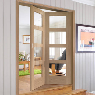 Image: Bespoke Thrufold Shaker Oak 4 Pane Glazed Folding 2+0 Door