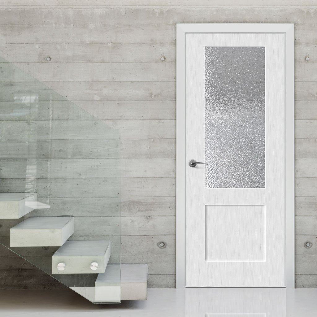 White PVC shaker glazed door with lightly grained faces toughened safety glass