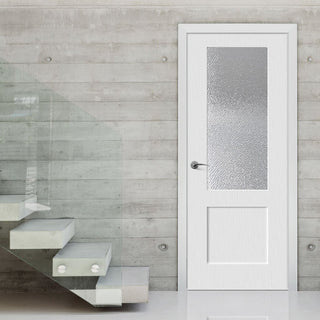 Image: White PVC shaker glazed door with lightly grained faces toughened safety glass