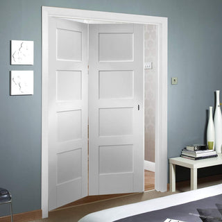 Image: Bespoke Thrufold Shaker 4P White Primed Folding 2+0 Door