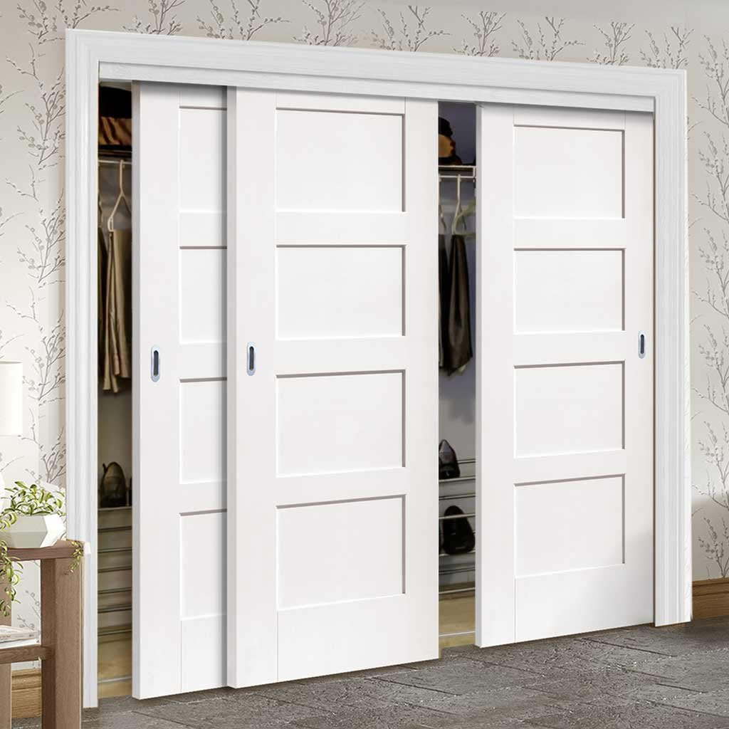 Bespoke Thruslide Shaker 4 Panel 3 Door Wardrobe and Frame Kit - White Primed