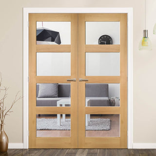 Image: Coventry Shaker Style Oak Door Pair - Clear Glass - Unfinished