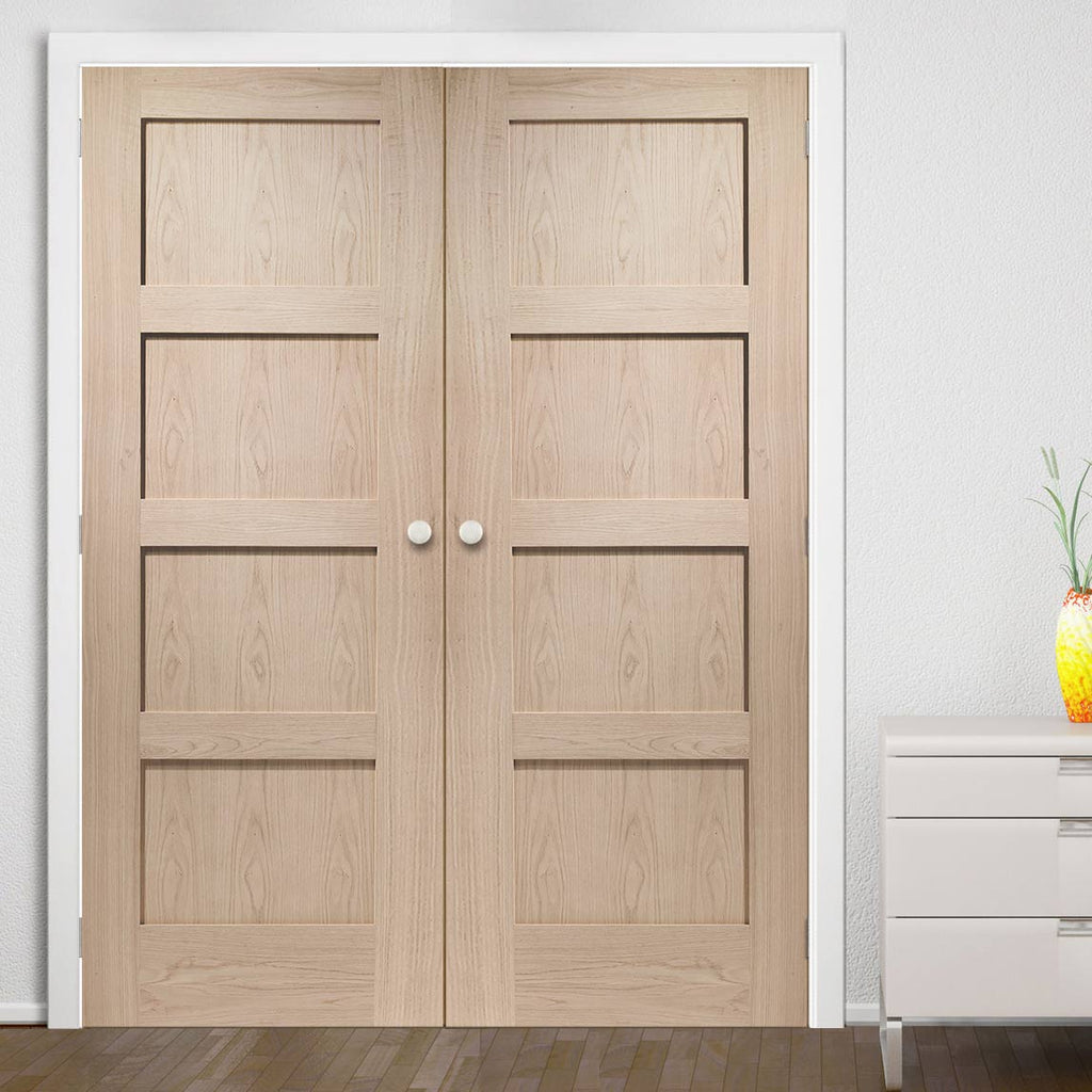 Prefinished Shaker Oak 4 Panel Door Pair - Choose Your Colour