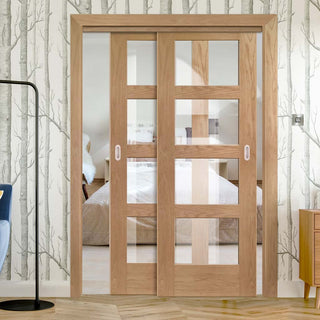 Image: Thruslide Shaker Oak 4 Pane - 2 Sliding Doors and Frame Kit - Clear Glass