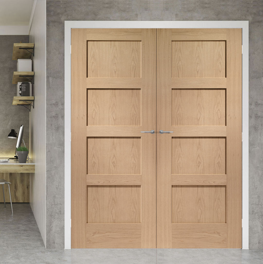 Fire Rated Shaker Oak 4 Panel Door Pair - 1/2 Hour Rated and Pre-finished