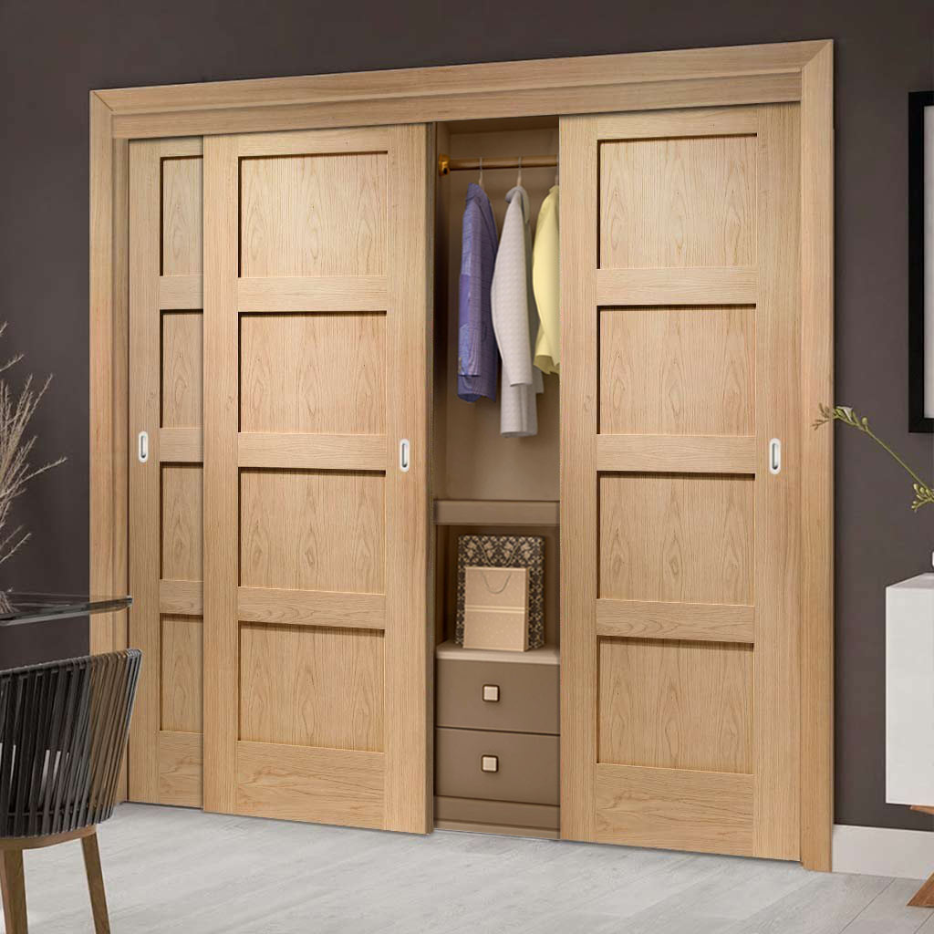 Three Sliding Wardrobe Doors & Frame Kit - Shaker Oak 4 Panel Door - Prefinished