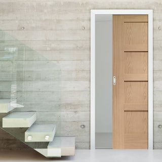Image: Shaker Oak 4 Panel Single Evokit Pocket Door