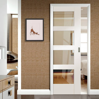 Image: Shaker 4 Pane Single Evokit Pocket Door - Clear Glass - Primed