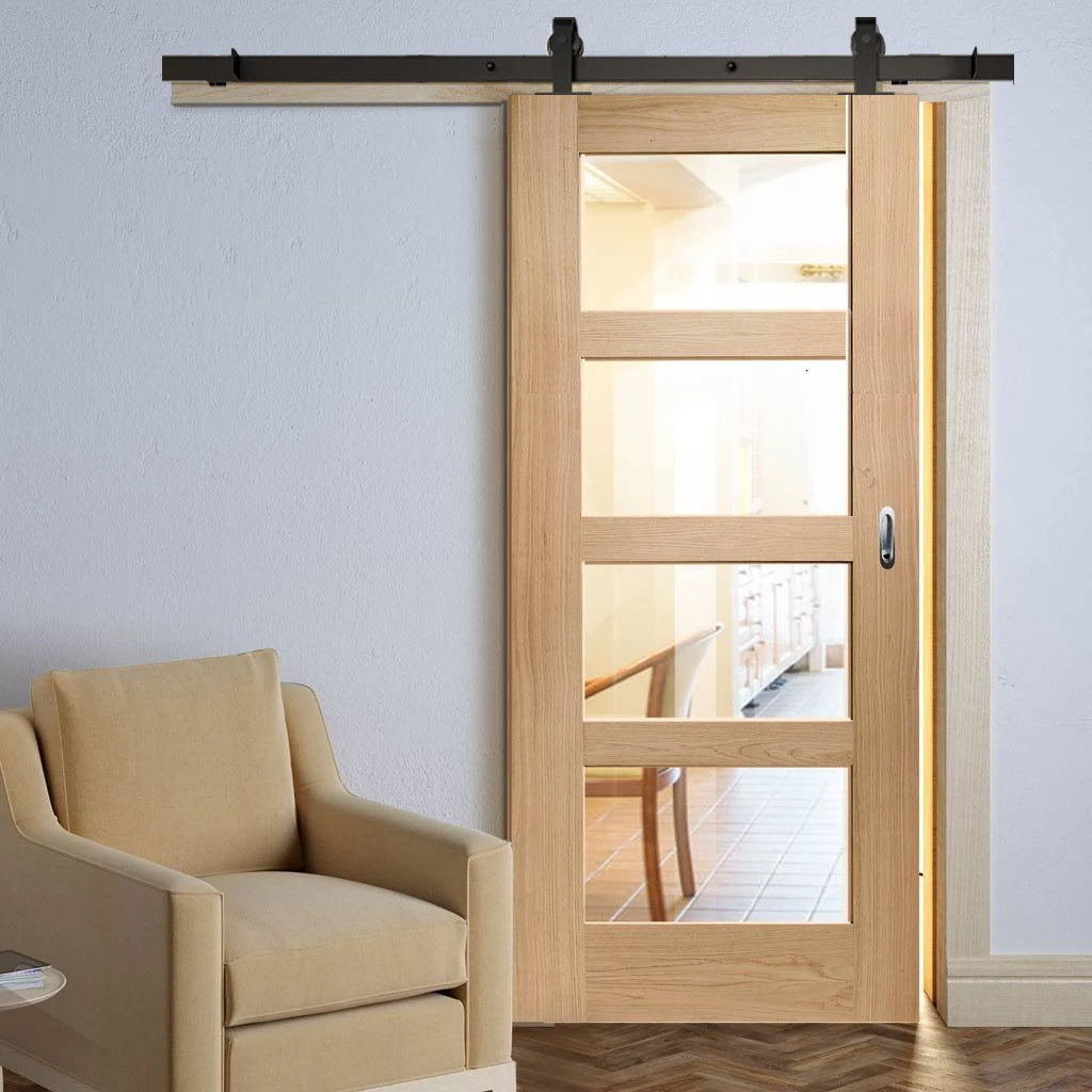 Top Mounted Sliding Track & Door - Shaker Oak 4 Pane Door - Clear Glass - Prefinished