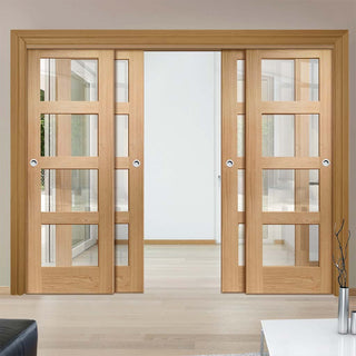 Image: Thruslide Shaker Oak 4 Pane - 4 Sliding Doors and Frame Kit - Clear Glass - Prefinished