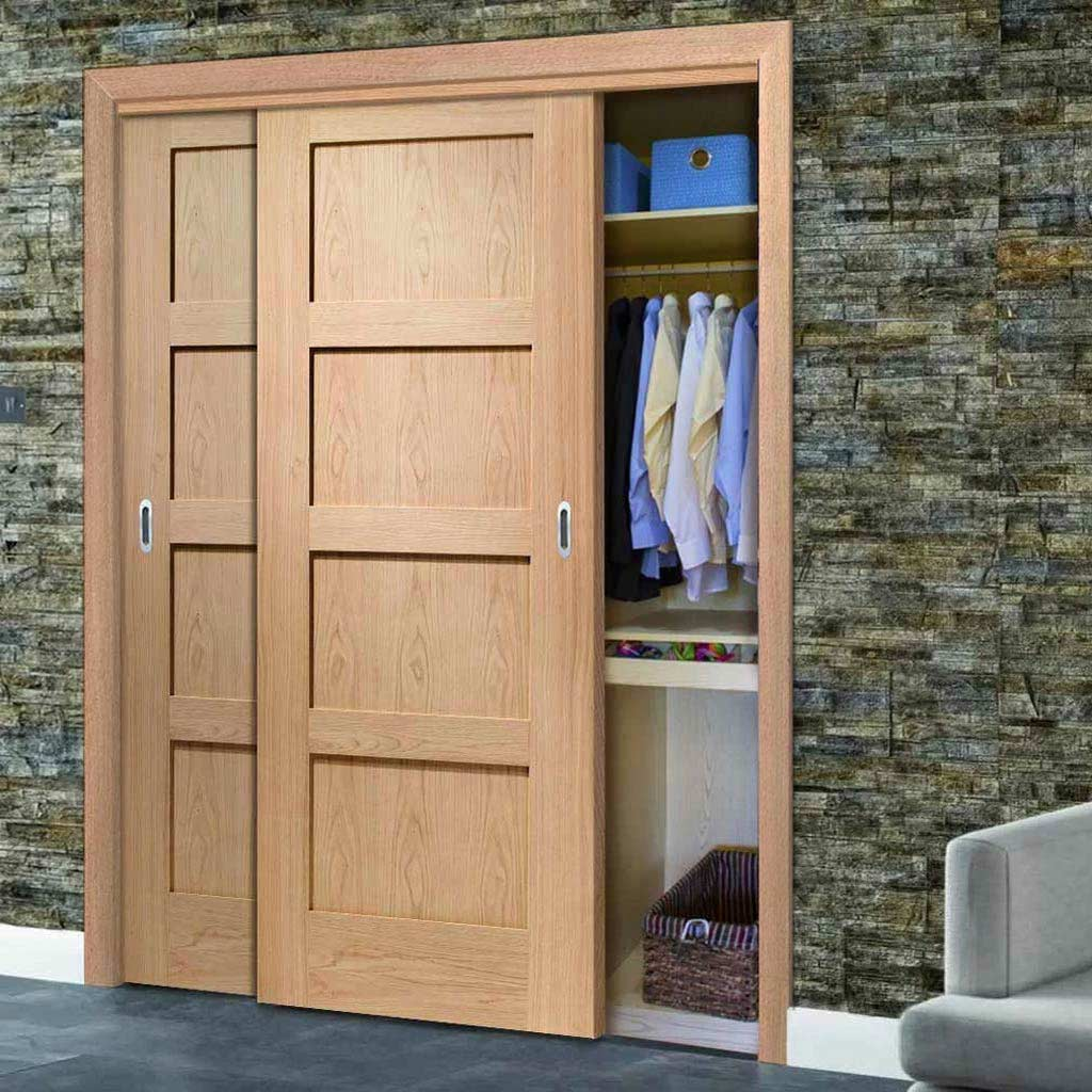 Two Sliding Wardrobe Doors & Frame Kit - Shaker Oak 4 Panel Door - Prefinished