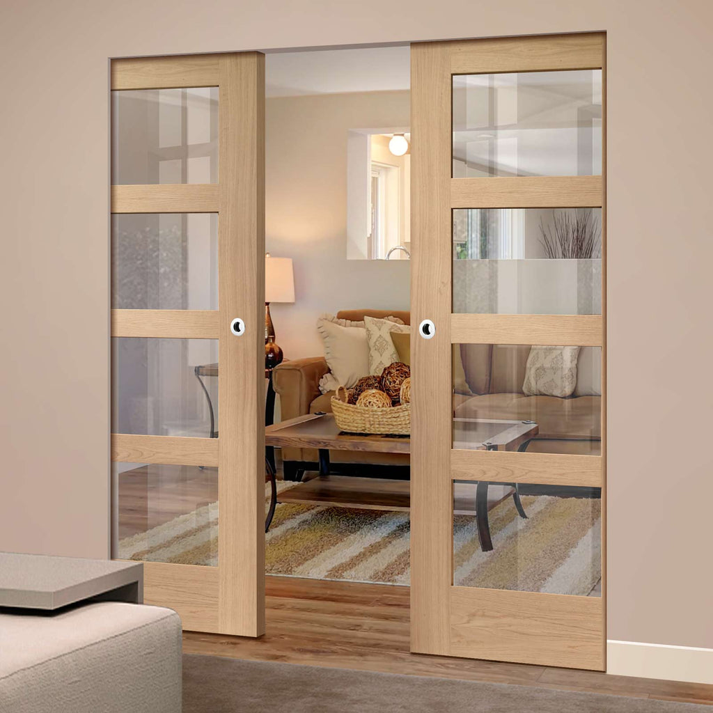 Shaker Oak 4 Pane Absolute Evokit Double Pocket Door - Clear Glass - Prefinished