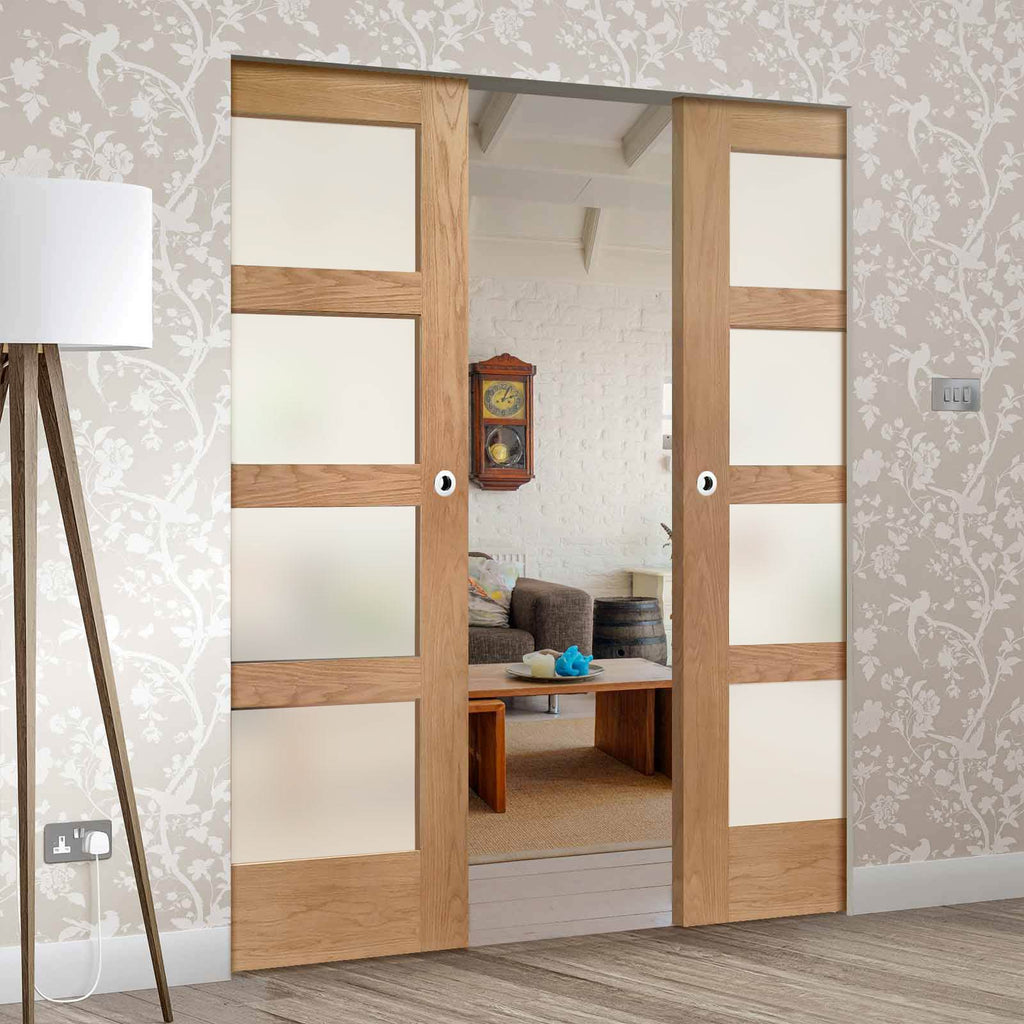 Shaker Oak 4 Pane Absolute Evokit Double Pocket Door - Frosted Glass