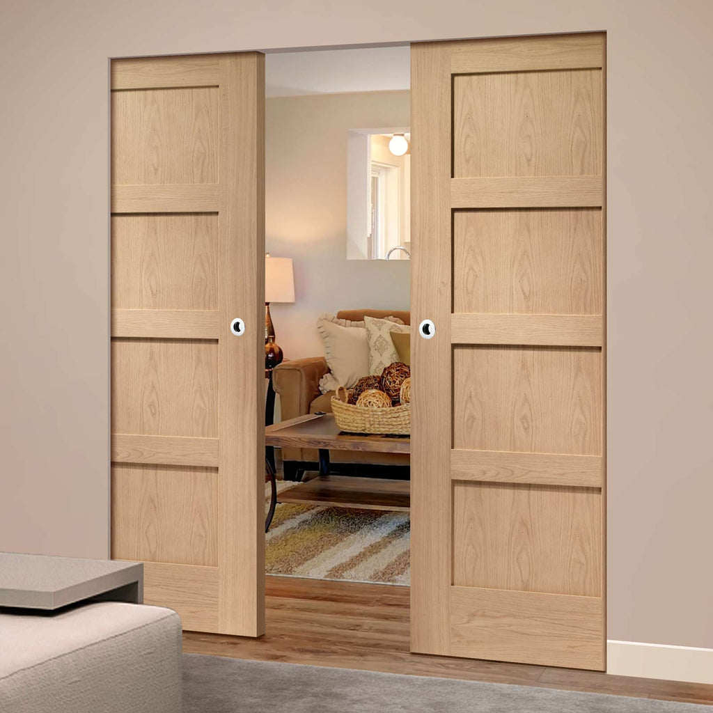 Shaker Oak 4 Panel Absolute Evokit Double Pocket Door