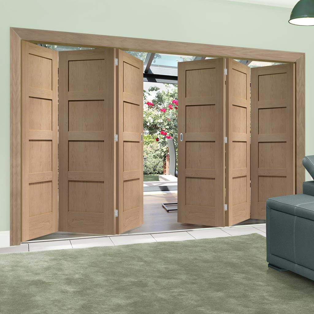 Bespoke Thrufold Shaker Oak 4 Panel Folding 3+3 Door - Prefinished