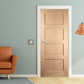 Image: JELD-WEN INTERNAL Shaker 4 Panel Oak Fire Door - Unfinished - Oregon Range