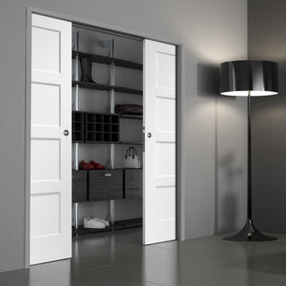 Image: Shaker 4P Double Evokit Pocket Door - White Primed