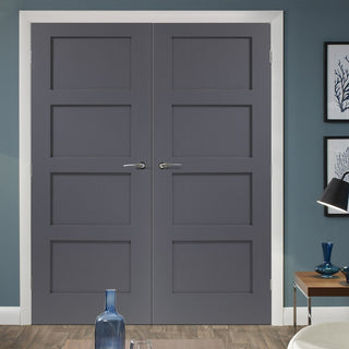 Image: Prefinished Shaker 4 Panel Door Pair - Choose Your Colour