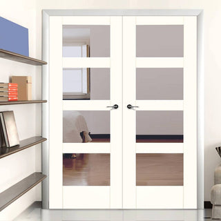 Image: White Primed Shaker Door Pair - Clear Glass