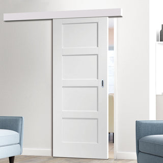 Image: Single Sliding Door & Wall Track - Shaker 4P Door - White Primed
