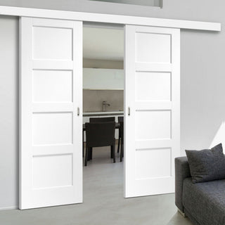 Image: Double Sliding Door & Wall Track - Shaker 4P Door - White Primed