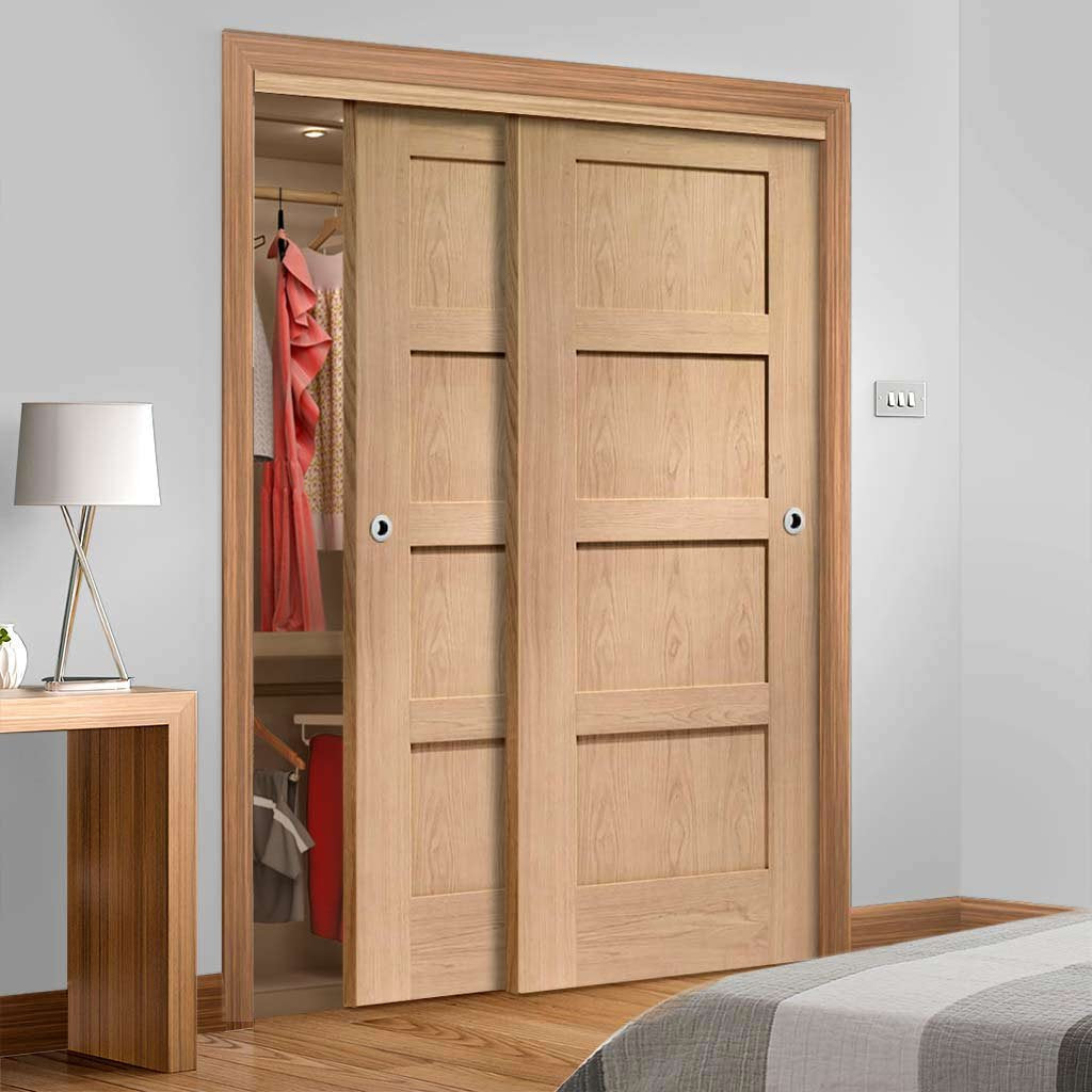 Bespoke Thruslide Shaker Oak 4 Panel 2 Door Wardrobe and Frame Kit