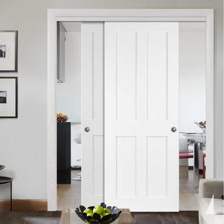 Image: Bespoke Thruslide Victorian Shaker 4P White Primed - 2 Sliding Doors and Frame Kit