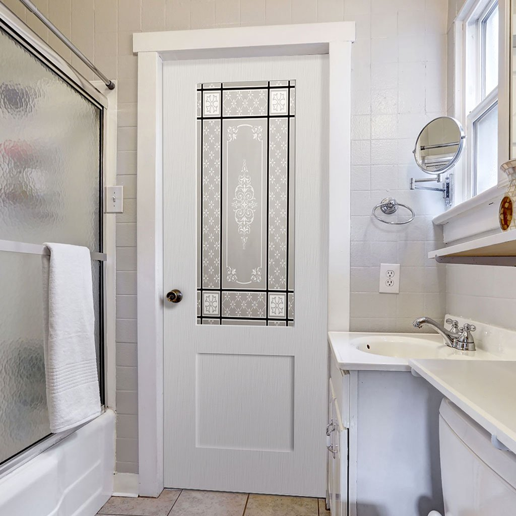 White PVC shaker door with lightly grained faces victorian style toughened glass