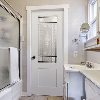 Image: White PVC shaker door with lightly grained faces victorian style toughened glass