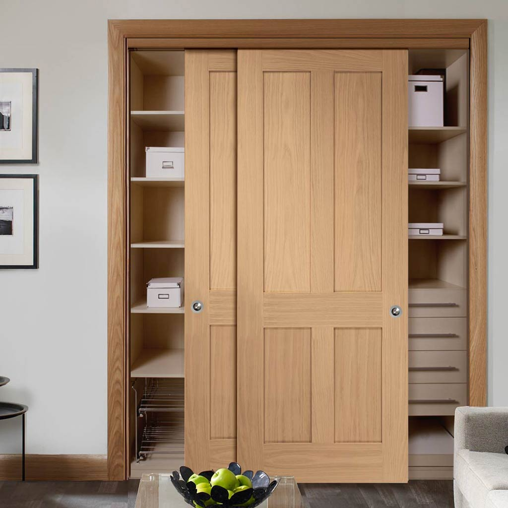 Minimalist Wardrobe Door & Frame Kit - Two Victorian 4 Panel Oak Shaker Door