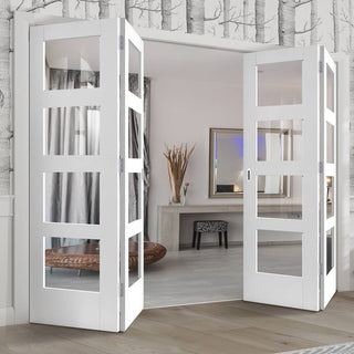 Image: Four Folding Doors & Frame Kit - Shaker 4 Pane 2+2 - Clear Glass - White Primed