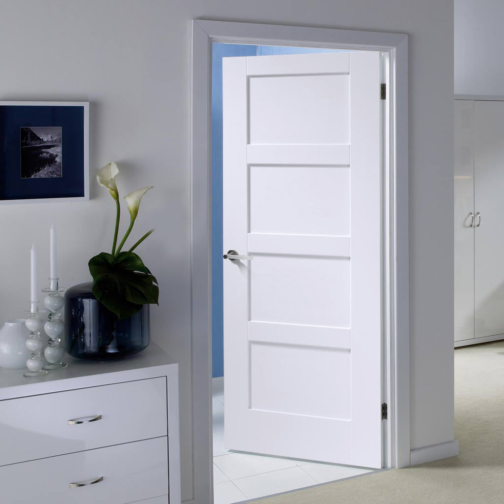 White Fire Door, Shaker 4P Door - 1/2 Hour Rated - White Primed
