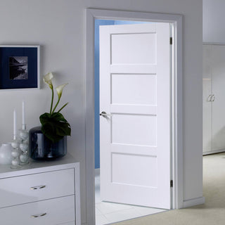 Image: White Fire Door, Shaker 4P Door - 1/2 Hour Rated - White Primed
