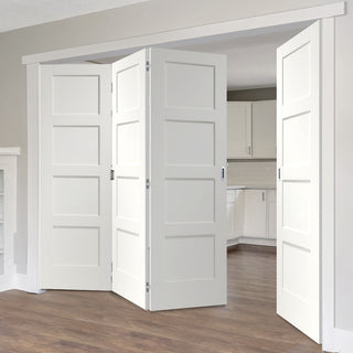 Image: Four Folding Doors & Frame Kit - Shaker 4P 3+1 - White Primed