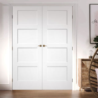 Image: Shaker 4 Panel Fire Door Pair - 1/2 Hour Fire Rated - White Primed