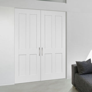 Image: Fire Proof Victorian Shaker 4 Panel Fire Door Pair - 1/2 Hour Fire Rated - White Primed