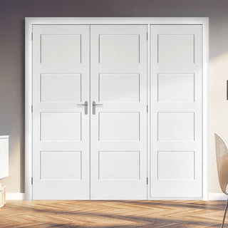 Image: ThruEasi Room Divider - Shaker 4P White Primed Double Doors with Single Side - 2018mm High - Multiple Widths