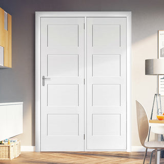 Image: ThruEasi Room Divider - Shaker 4P White Primed Door with Single Side - 2018mm High - Multiple Widths