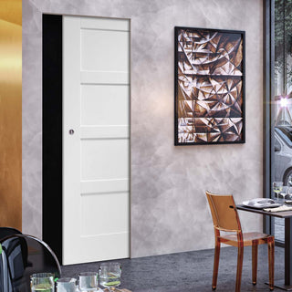 Image: Shaker 4P Absolute Evokit Single Pocket Door - White Primed